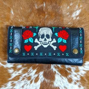 Vtg Loungefly Denim Embroidered Skull Roses Wallet